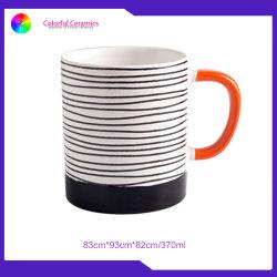 Einfache Zeilen Cup-keramischer Becher-kundenspezifisches Kaffeetasse-Becher-Set