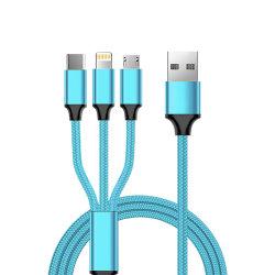 كبل شحن USB متعدد الوظائف مضفر من القماش 3 في 1، بطول 1,2 م، وخرج 2 أمبير