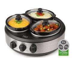 3つの別の陶磁器の内部の鍋の食糧ウォーマー及びビュッフェサーバー