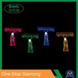 Pop acrílico Precio de la etiqueta de plástico de signo de los titulares de tarjeta de promoción de la pantalla de papel clips en la tienda.