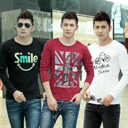 Homens pano de moda de Manga Longa do estoque de peças de vestuário T - Shirt (WN-12)