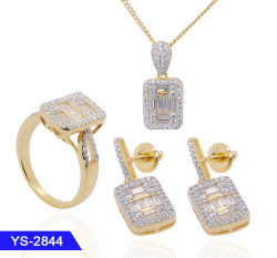 Juegos de joyería de bodas de plata chapada en oro, se establece para la Mujer