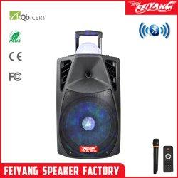 Feiyang 15 pollici di multimedia di altoparlante portatile del carrello con l'indicatore luminoso della sfera della discoteca e l'input aus. La-015 dell'amplificatore della batteria di Bluetooth del USB FM della scheda radiofonica incorporata di deviazione standard