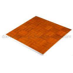 Plancher de danse de bois de teck de couture mobile Carte avec bord en alliage en aluminium