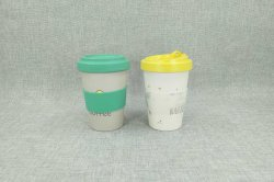 Impresos personalizados de fibra de bambú viajar tazas de café con tapa de silicona y el manguito (YK-B018)