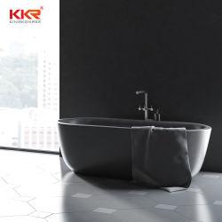 1600mm Black superfícies Corian Autoportante Oval banheira banheiro banheira em pedra banheiras de imersão para Duas Pessoas