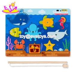 Nova Moda Madeira educacionais para crianças de quebra-cabeças de pesca magnético W01A318