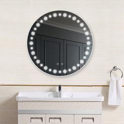 Mobiliario de casa bañera redonda de espejo de plata de la pared con LED
