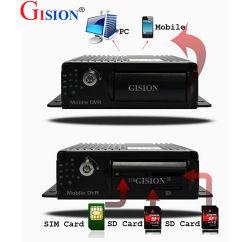 이동할 수 있는 DVR 의 이중 SD 카드 3G 차 DVR 의 4개의 채널 차량 DVR 의 실시간 GPS 궤도, 경보, 지원 iPhone, 인조 인간 전화