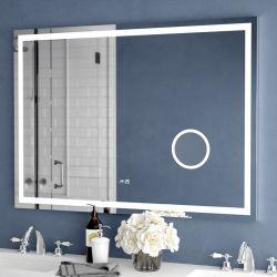 حمام بمرآة مضاءة بإضاءة خلفية LED، مرآة، مرآة، حمام مضاء مثبت على الحائط مرآة منع الضباب مع المكبر