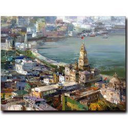 Mittelmeerwand-Ölgemälde der schönen Landschaft-100%Handmade