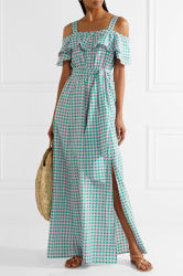 Vichy Cold-Shoulder de coton et de robe maxi Silk-Blend Plaid Split