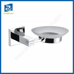 Porte-savon carré moderne salle de bain de zinc plat en verre Titulaire d'accessoires