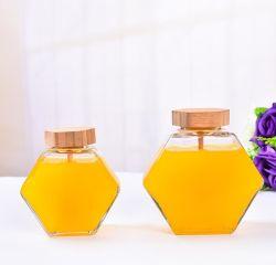 380ml de miel hexagonal Jar de verre avec balancier en bois