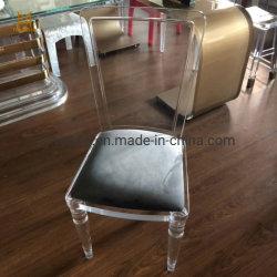 Salle à manger de cristal personnalisé Président de l'acrylique avec cuir synthétique