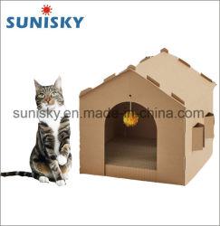 Haltbares Katze-Wellpappen-Haus mit Scratcher Pfosten
