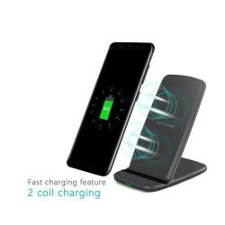 휴대폰 급속 충전기 2 코일 Qi 무선 충전기 삼성 Galaxy S7/S7 Edge와 iPhone을 위한 스탠드 X