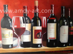 Ancora pittura a olio Handmade delle bottiglie di vino di vita per le case