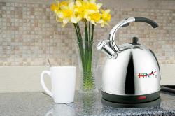 Edelstahl-Kaffee-Potenziometergooseneck-elektrischer Kessel mit Thermometer-Silber