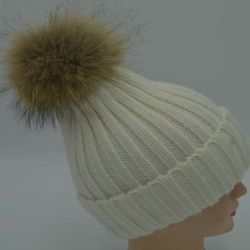 Les enfants de fourrure de lapin d'hiver POM POM Beanie Hat laine Chapeau chaud et de Hat