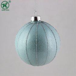 Light Blue Bille de verre avec des rayures décorer de célébration de Noël