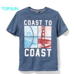 Kundenspezifische Chlidren gedruckte Baumwollsommer-Shirt-Jungen Sleeve kurz Kleidung-Baby-rundes Stutzen-Ebenen-Kleid