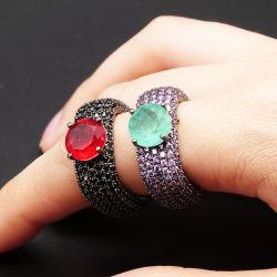 Оптовая торговля мода ювелирные изделия из камня Fusion кольцо в латуни меди с создания Spinel черного цвета