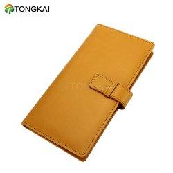 Logement de carte fente de plumes personnalisé dossier mémo avec boucle de ceinture