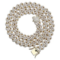 El hip hop cubano joyas de diamantes collar de cadena, el Hip Hop Iced out CZ Collar de eslabones de cadena de Cuba, el Hip Hop joyería, los hombres Collar Collar de Oro Joyería