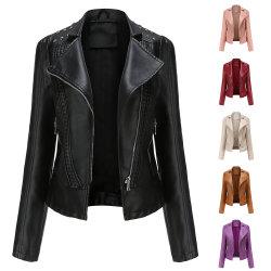 패션 여성용 PU 가죽 슬림 리벳 턴다운 칼라 겨울 코트 재킷