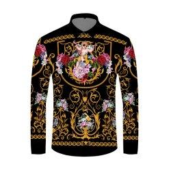 قميص فاخر أسود مطبوع باللون الذهبي مع قميص رويال من الموضة التوكسيدو الرجال في S Club الملابس ذات الأكمام الطويلة شارع النحيفة اللباس القرد هومياء