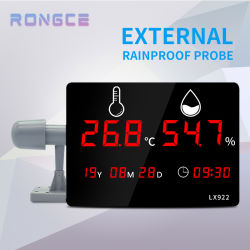 Sonda externa à prova de chuva de alta qualidade com visor LED digital de interior de montagem na parede Higrómetro de temperatura industrial