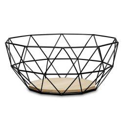 Schwarze geometrische Metalldraht-hölzerne niedrige dekorative Speicher-Bildschirmanzeige-Korb-Frucht-Filterglocke