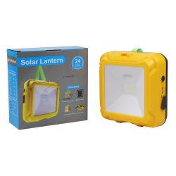 Lanterna LED solar portátil de alta qualidade, recarregável e de tamanho pequeno Candeeiro de campismo Solar com iluminação e carregamento por telefone