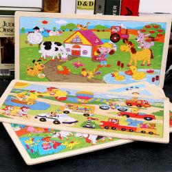 Venta al por mayor Venta caliente para la Educación Juego 2D niños juguetes de madera de transporte de animales Rompecabezas para Niños
