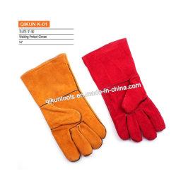 K-01 plein cuir de vache de la sécurité de travail des gants de soudure