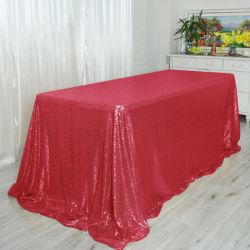 Eventos de casamento Banquetes Sequin brilhante vermelho de alta qualidade, decoração de mesa toalha quadrada