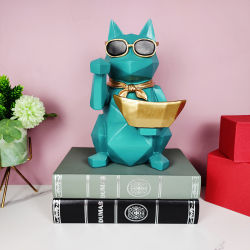أفضل مبيعات التصميم الداخلي للسيارة ريزين Dog Sculpture الديكور لطيف للديكور المنزلى