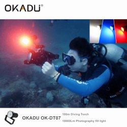 Van het Lichte LEIDENE van Okadu Dt07 Red+Blue het Duiken CREE Flitslicht 10PCS van de Duik xm-L2 maakt Flitslicht 10000lm 100m het LEIDENE Flitslicht van de Duik waterdicht