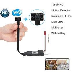 1080p HD de vision nocturne invisible de la batterie de la surveillance vidéo de sécurité sans fil WiFi Pinhole IP Mini caméra cachée