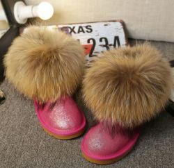 De vrouwen vormen de Klassieke Comfortabele Laarzen van de Sneeuw van de Schapehuid Vrouwelijke met rond het Bont van de Wasbeer