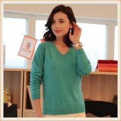 習慣は最も遅く冬の平野の100%年のカシミヤ織の方法女性によって収穫されるプルオーバーのセーターを設計する