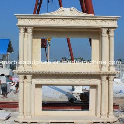 Hochwertige Doppel Western Stil Säule Marmor Kamin Mantel (SY-MF068)