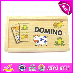 2015 neues Item Puzzle Toy Knowledge Wooden Domino, Animal Design Wooden Domino Game Toy, Personalized Domino in Wooden Box W15A022