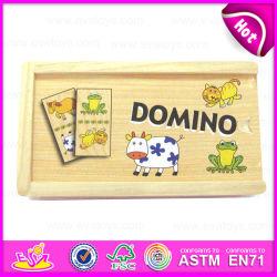 2015新しいItem Puzzle Toy Knowledge Wooden Domino、Animal Design Wooden Domino Game Toy、Wooden Box W15A022のPersonalized Domino