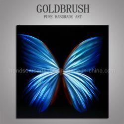 Papillon bleu métal peinture d'huile pour la décoration