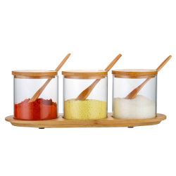 3PCS ha impostato l'alto vaso della spezia di vetro di Borosilicate con il coperchio del legname