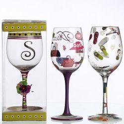 Cusotmize copa de vino de cristal de la Copa de la pintura de mano de pintura de mano vaso vaso de vino