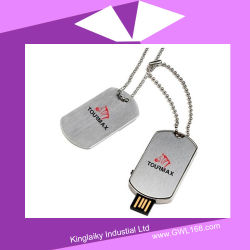 Memória flash USB simples de metal com logotipo e titular (FA-014)
