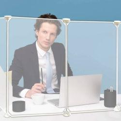 デスクトップおよびカウンタートップのくしゃみの監視プライバシーのディバイダによって曇らされるアクリル